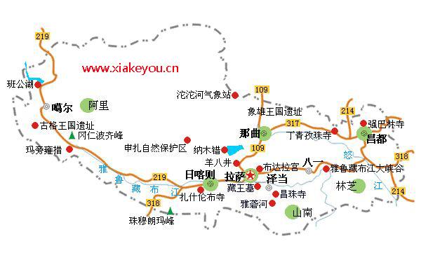 上海到西藏旅游地图